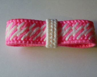 Pink & White Plastic Canvas Hair Bow  #624