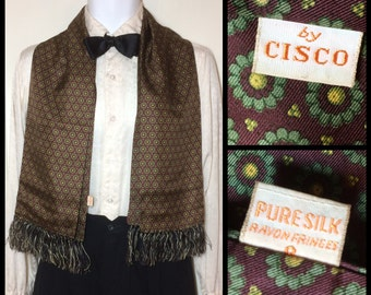 Vintage Circle Flowers patterned Pure Silk Ascot Cravat Opera Scarf 1940's by Cisco Gentleman Rayon Fringe Burgundy green yellow 47x13