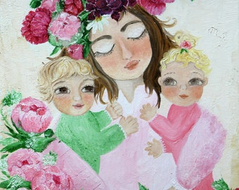 """Original oil painting on canvas 'Mother and Babies' 14""""x11"""""""