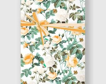 Botanical print, Botanical Wrapping Paper, Roses Gift Wrap, Digital Gift Wrap Sheet, Holiday Wrap, Printable Wrapping Paper, DIGITAL FILE