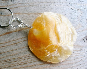 Natural Shell Pendant - Yellow Gold Circle Disc Shell Pendant - Silver Wire Wrap