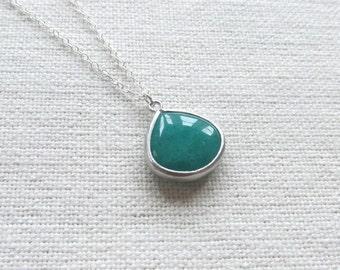 Emerald Green Teardrop Necklace, Sterling Silver Chain, Dainty Minimalist Necklace, Glass Stone