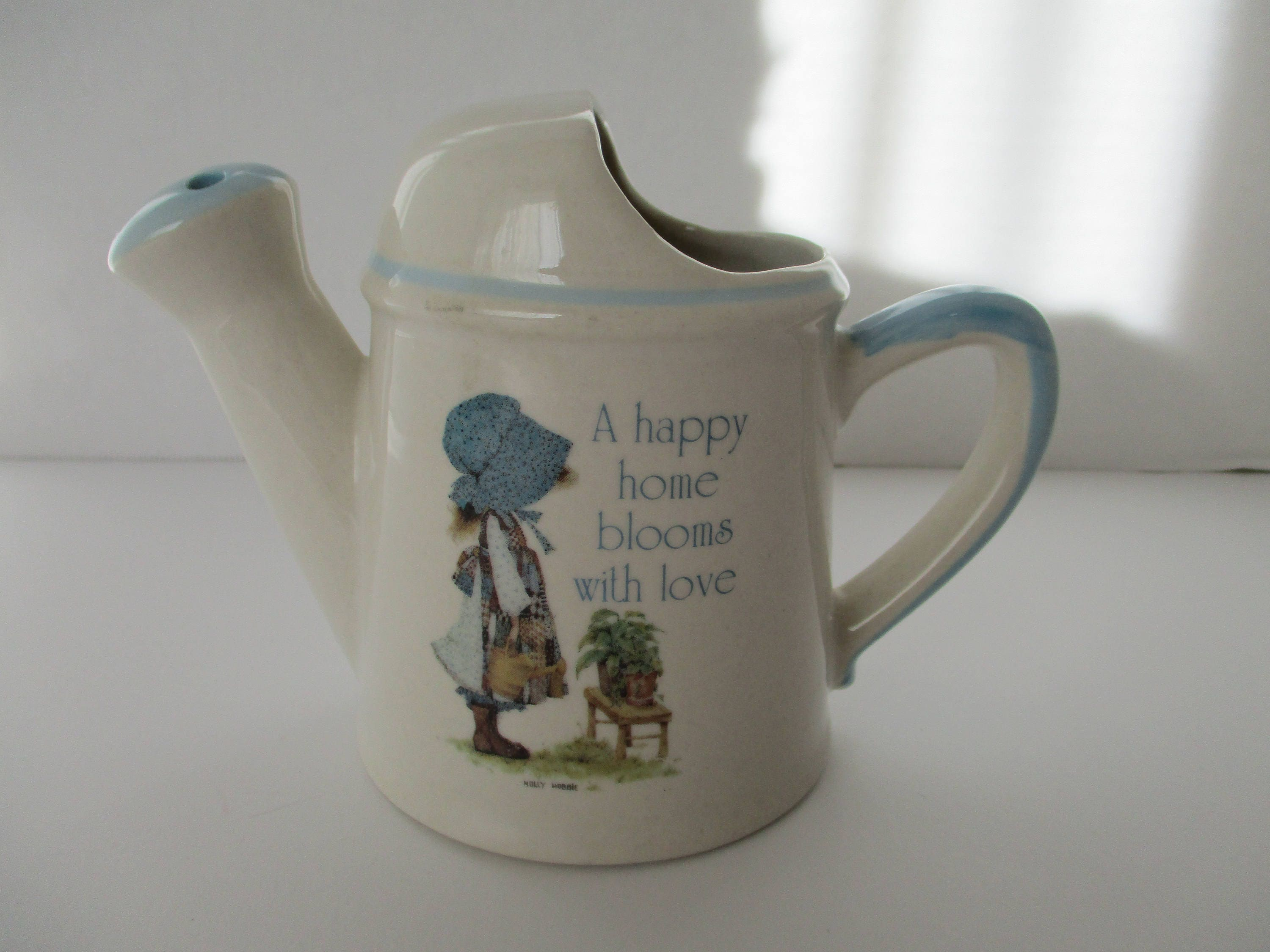 Holly hobbie garden watering can 3 12 inches tall vtg description vintage ceramic holly hobbie reviewsmspy