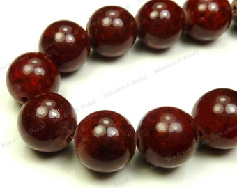 12mm Sienna Brown Rainbow Jade Round Gemstone Beads - 17pcs - Brick Red, Mahogany - BH31