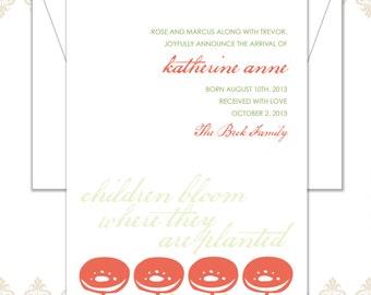 Modern Adoption Announcement - Adoption - Flower announcement - modern flower card - Baby Announcement -
