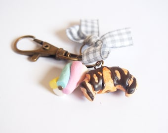 Cute Charm Zipper Pull Charm ( croissant charm marshmallow charm bow charm food charm  miniature food gift for her brass charm )