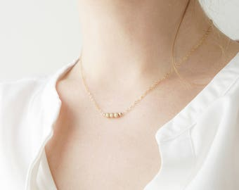 Minimal Necklace, Gold Chain Necklace, Delicate Gold Necklace, Layered necklace, Three Beads Necklace, Gift for Girlfriend, Dainty Necklace