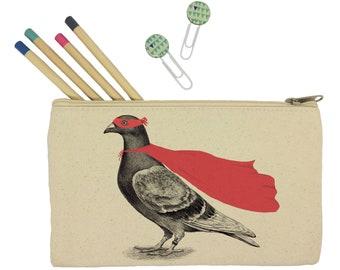 Pencil case/ stationary/ super pigeon/ pencil pouch/ canvas bag/ pencil holder/ make up bag/ school supplies