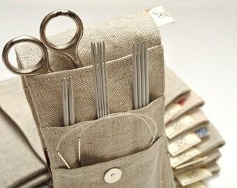 """MINI Needle Case. size: 4"""" x 9,2"""". Needles, Crochets and Hooks Case. Knitting needles Organizer Holder."""