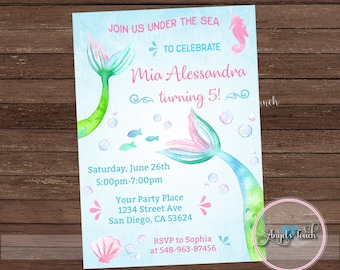 Mermaid Party Invitation, Mermaid Gold Invitation, Mermaid Invitation, Mermaid Birthday Invitation, Mermaid Party, Digital File