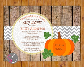 Pumpkin Baby Shower Invite Rustic Autumn Shower Fall Baby Shower Printable Invitation Fall  Autumn Invitation (PI-78)