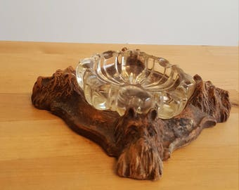 Scotty Dog Clay Wood Glass Antique Tobacco Smoking Ash Tray