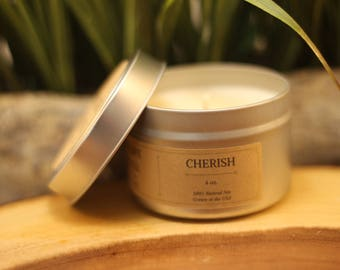 CHERISH 4 oz. Scented Soy Candle Tin | Soy Candle | Travel Candle | Scented Candle | Soy Candle Gift Idea | Romantic Scented Candle