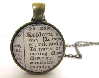 EXPLORE Definition Necklace - Dictionary Necklace - Explore - Graduation Gift - Bronzed or Silver Plated