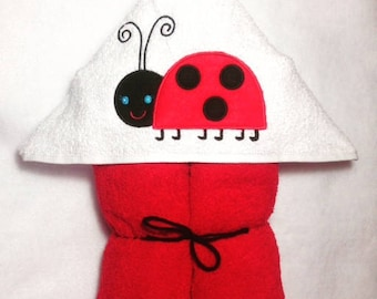 Lady Bug Hooded Towel, Lady Bug, Baby Lady Bug,  Girly Lady Bug Towel, Kids Hooded Towel, Personalized Kids Towel, Character Hooded Towels