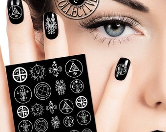 Witch, Sigils Nail Decals,Wicca wiccan nail art- Magic-Black nails-Gothic-Protection, Pentagram,Moon, Spirituality,Symbols Nail Art