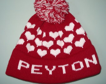Personalized and machine washable child's knit hat  Teagan, Addison, Peyton, Zoey
