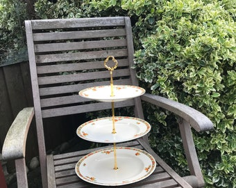 Matching, Vintage, china 3 Tier Cake Stand, 1930-1950, Perfect for Any occasion, Weddings or Tea Party's. Alice in Wonderland.