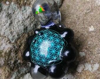 Encased Aqua Geometric Prism Pendant
