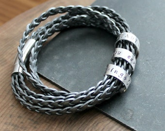 Personalized Secret Spinning Message Bracelet, Silver And Double Wrap Braided - As seen on the hit TV show Girlfriends' Guide To Divorce