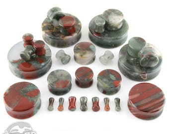 "African Blood Stone Plugs - Sizes / Gauges (8G up to  1 & 1/2"" Inch)"