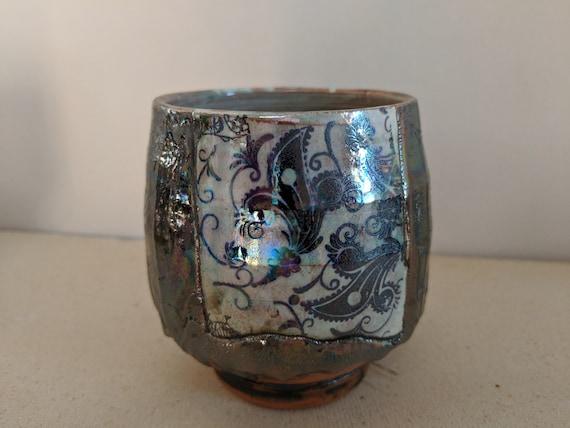 Handmade Ceramic Tea Bowl with Black Tattoo