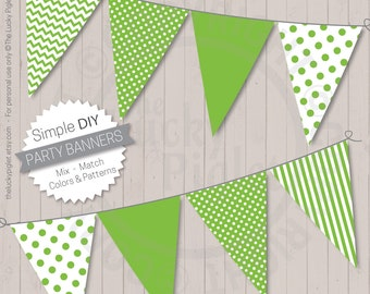 Party Banners, Lime | Printable Party Banners, Baby Shower banners, Birthday Party banners | Instant Download