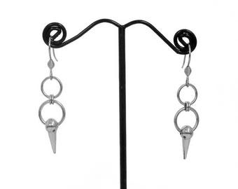 Stainless Steel Spike Earrings - Handmade Dangle Earrings with Hook or Stud