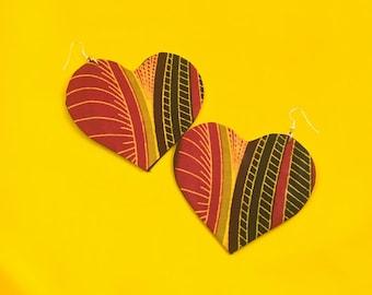 African Earrings, Heart Earrings, Unique Earrings, Big Earrings, African Jewelry, Handmade Earrings, Eco-Friendly Jewelry