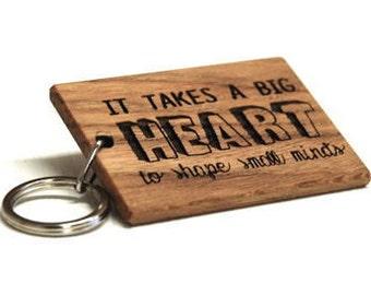 Big Heart Keyring - Gift For Teachers - Teacher Gift - Teacher Personalised - Thoughtful Gift - Wooden Keyring - Oak Gift - Engraved Wood