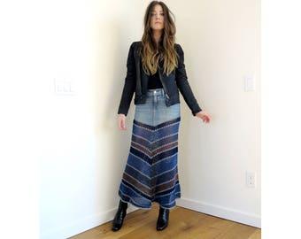 Indigo Patchwork - Crochet Embellished Midi Skirt with Denim Yoke - Free Shipping in USA