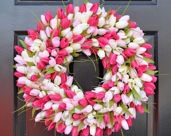 20%OFF WREATH SALE Spring Wreath- Tulip Spring Wreath- Summer Wreath- Custom Front Door Wreath- Spring Decor- Easter Decoration- Outdoor Wre