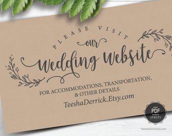 Wedding Website card template, Instant download PDF editable template, enclosure card, insert card, Kraft modern rustic design (TED418_36)