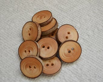 "Wood buttons wooden buttons Hemlock Tree branch buttons crochet buttons cowl buttons Qty of 10....7/8"" buttons  lot #2"