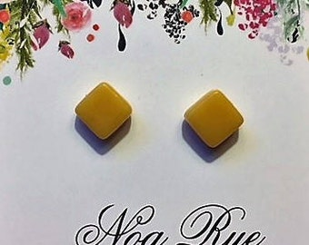 Mustard Mosaic Square 8mm Stud Earrings