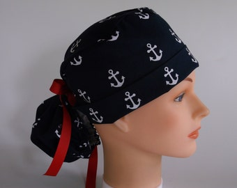 Navy Anchors Ponytail - Womens lined surgical scrub cap, surgical hat, Nurse cap, 156+4900 W