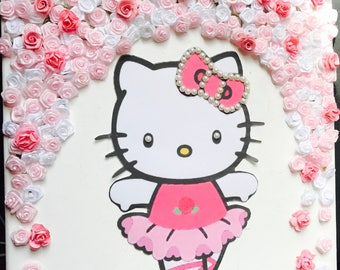 Hello Kitty Wall Decor | Nursery Wall Decor | Baby Girl Wall Decor | Floral  Backdrop | Pink Wall Decor | Girls Bedroom Wall Decor