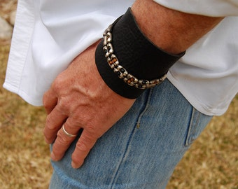 Mens LeatherCuff Bracelet |The Rugged Gentlemen |Mens Sterling Silver, Chain Cuff, Stone Bracelet, Mens Leather Bracelet, Wrap Bracelet
