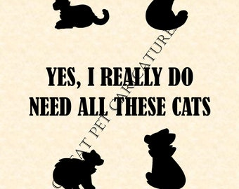 Yes I Really Do Need ALL THESE CATS Sign Picture Decor