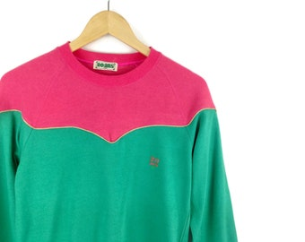 90s Colorblock Multicolor Vintage Sweatshirt Neon Color Size Womens Medium