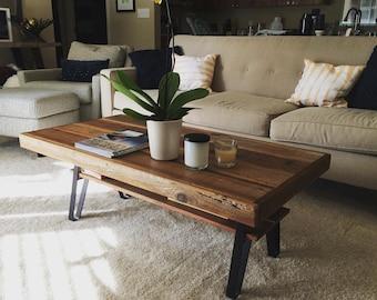 Reclaimed Wood Farmhouse Coffee Table With Shelf + Flatiron Legs   Three  Sizes