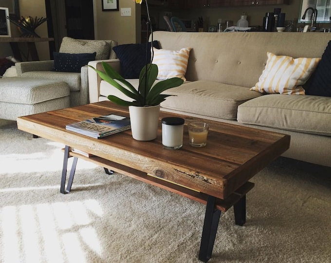 "Featured listing image: 48"" x 24"" x 18"" Reclaimed Wood Farmhouse Coffee Table with Shelf + Flatiron Legs"