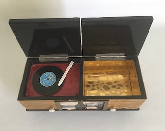 French vintage. Music box and jewelry 1960 electrophone.