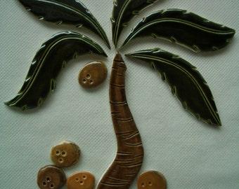 TOO -  PALM Tree, Coconuts - Ceramic Mosaic Tile Set
