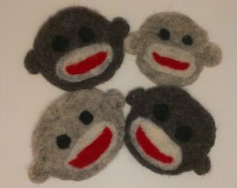 Felted Sock Monkey Coasters