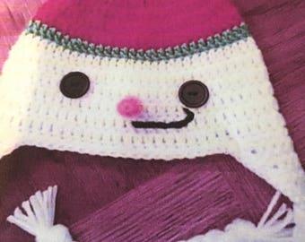 Handmade crochet snowman hat, frosty the snowman xmas hat, holiday gift for winter, crochet snowman hat, frosty the snowman hat