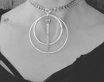 Coffin Nail - Choker - Necklace - Silver - Dark - Witchy - Goth - Gothic - Macabre - Oddities - Black Metal -  Gift - Jewelry