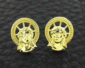 Jesus Earrings, Yellow Gold Jesus Earrings, gold Jesus earrings, Jesus Head Earrings, Jesus stud earrings, Religious Jewelry