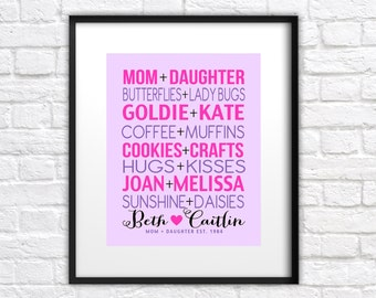 Gift for Mom from Daughter, Custom Art Print, We Go Together Like, Personalized Art for Mother, Christmas Gift for Mom, Step Mom