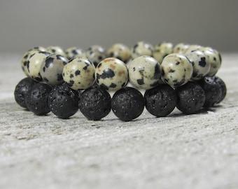 Dalmation Jasper and Lava Rock Double Stack Bracelets (Male / Men / Unisex)